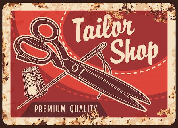 Tailor shop rusty metal sign, sewing tools Premium Vector