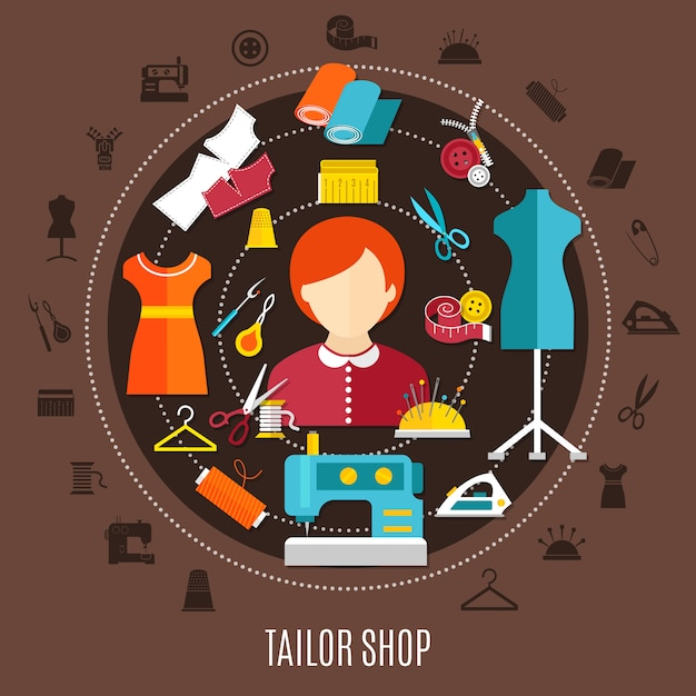 Tailor shop and sewing concept Free Vector
