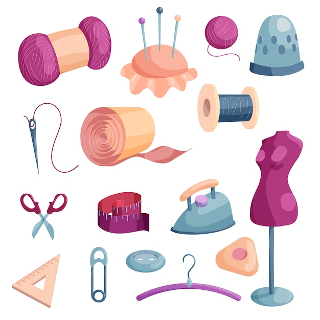 Tailor tools icons set. cartoon illustration of 16 tailor tools icons for web Premium Vector