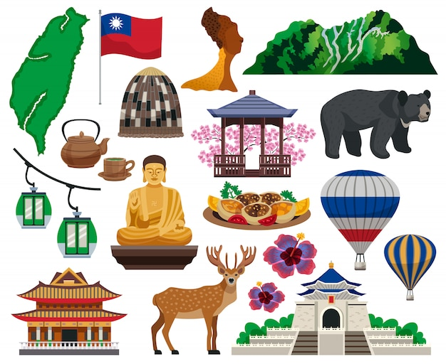 Taiwan culture elements collection Free Vector