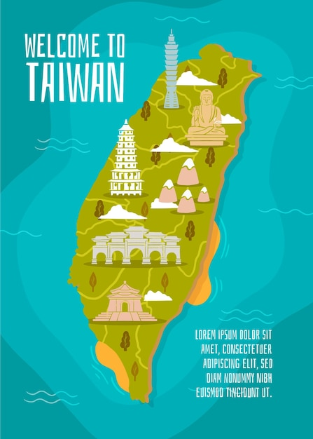 Taiwan map with landmarks concept Free Vector