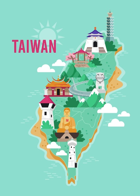 Taiwan map with landmarks illustrated Free Vector