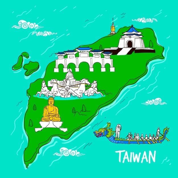 Taiwan map with landmarks illustration Free Vector