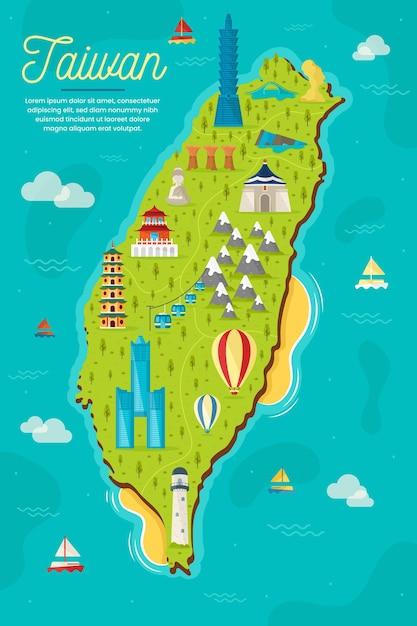 Taiwan map with landmarks Premium Vector