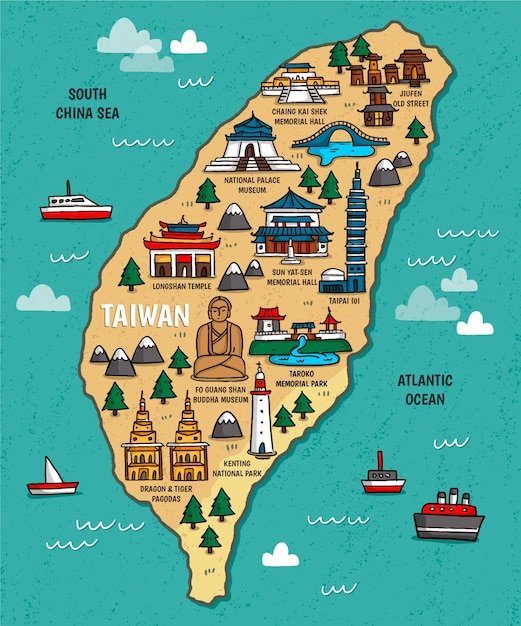 Taiwan map with landmarks Free Vector