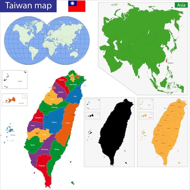 Taiwan map Premium Vector
