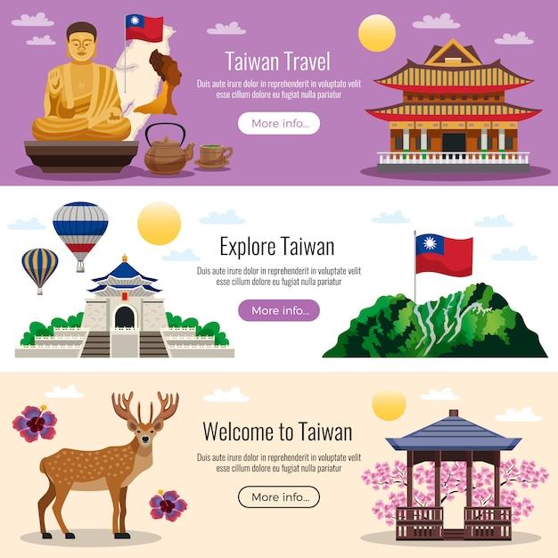 Banner di viaggio di taiwan Vettore gratuito