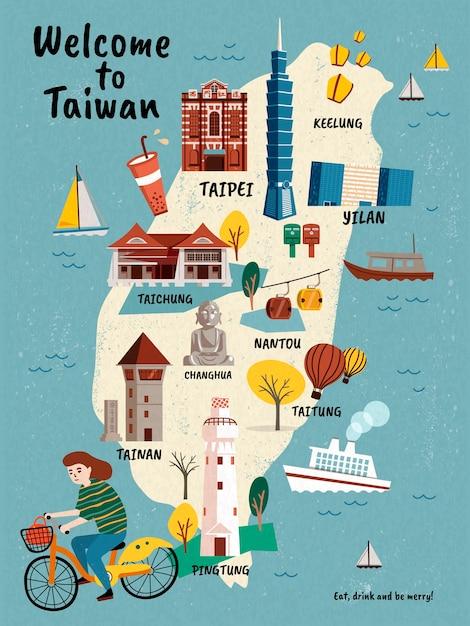 Карта путешествия тайваня, нарисованные от руки достопримечательности и деликатесы с девушкой, едущей на велосипеде Premium векторы