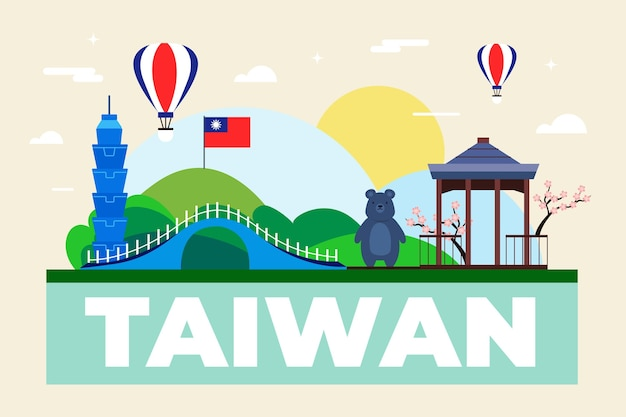 Taiwan word with landmarks Free Vector
