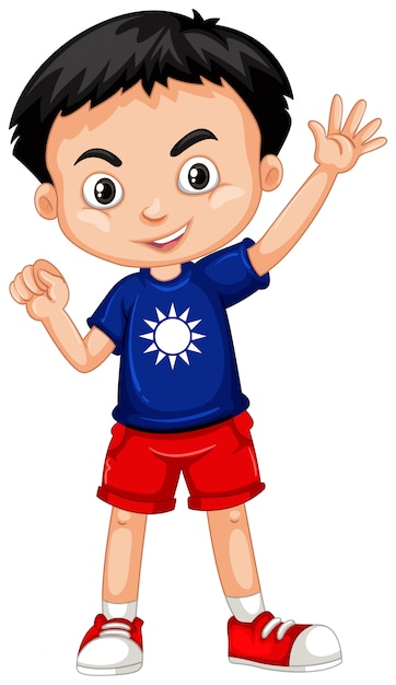Taiwanese boy in blue shirt Free Vector