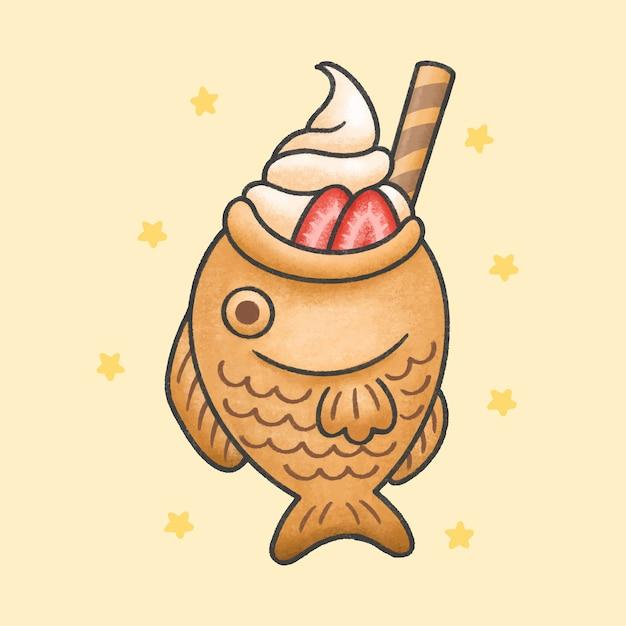 Taiyaki ice cream with strawberry dessert cartoon hand drawn style Premium Vector