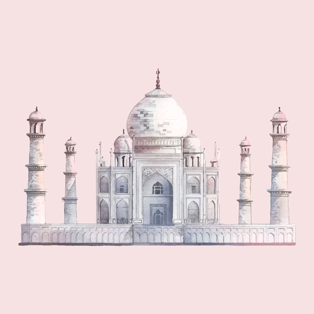 The taj mahal in agra, india watercolor illustration Free Vector