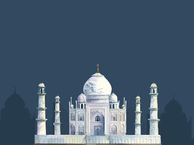 The taj mahal painted by watercolor Free Vector