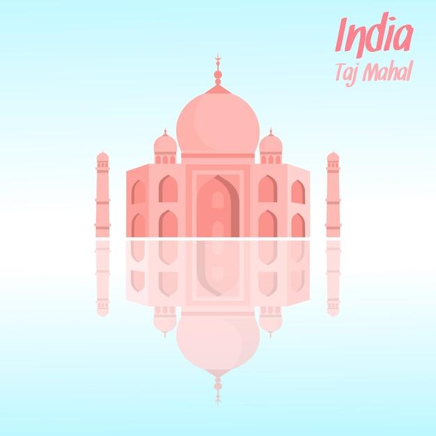 Taj mahal vector illustration with lettering, text Premium Vector