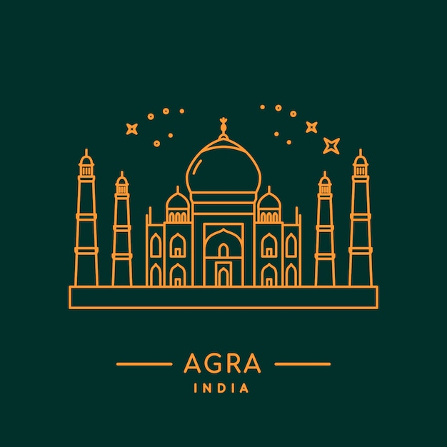 Taj mahal vector illustration. Premium Vector