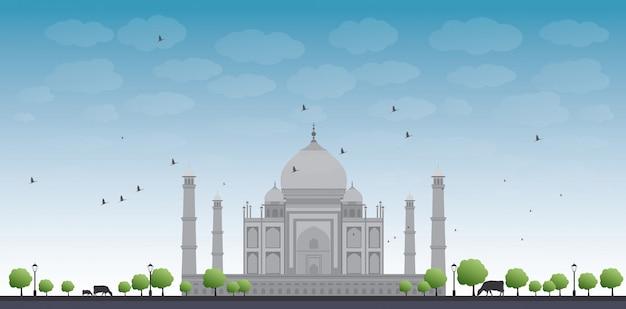 Taj mahal with tree and cow Premium Vector