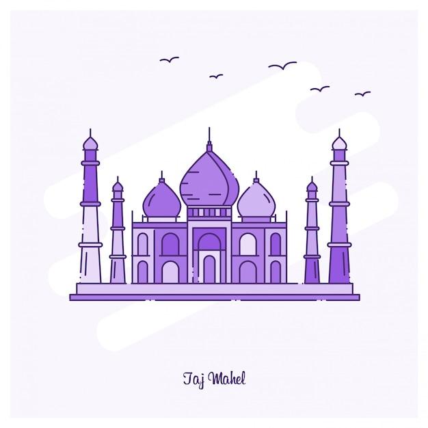 Taj mahel landmark purple dotted line skyline Free Vector