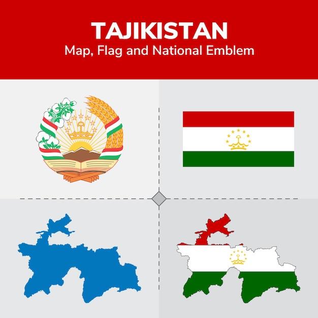 Tajikistan Map Flag And National Emblem Vector Premium Download - Tajikistan map vector