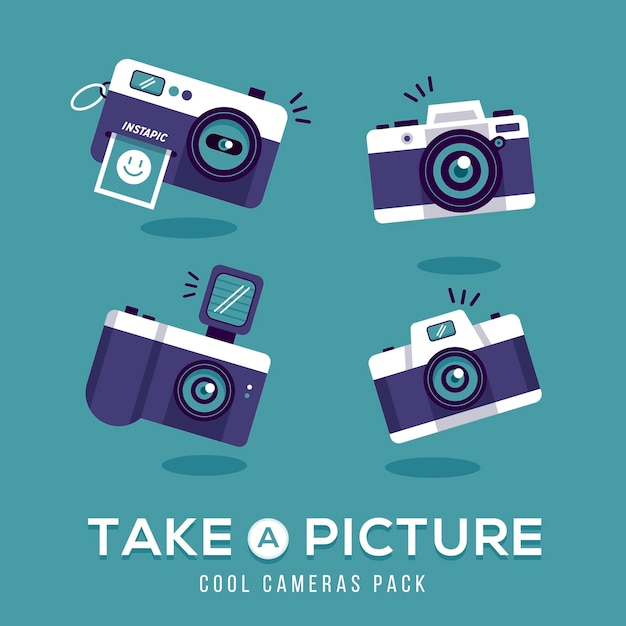 Take a picture with vintage camera Vector | Free Download