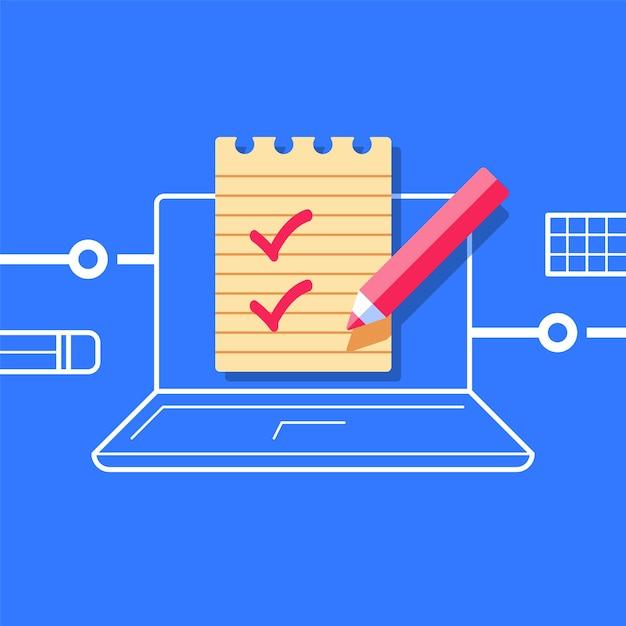 テストを受ける、知識をチェックする、オンラインクラス、試験の準備、インターネット教育の概念、コンピューターのチェックリスト、イラスト Premiumベクター
