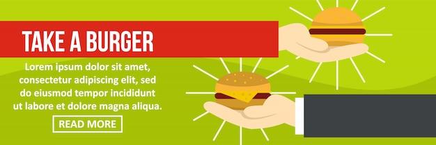 Take a burger banner template horizontal concept Premium Vector