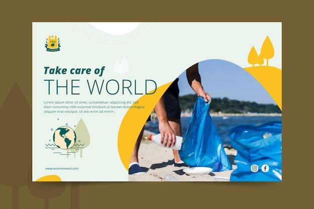 Prenditi cura del modello di banner per l'ambiente mondiale Vettore gratuito
