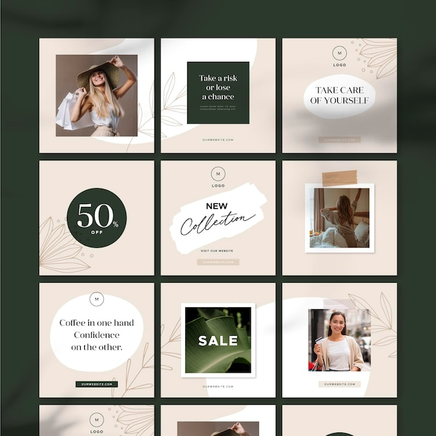 Take care of yourself sale instagram puzzle feed Free Vector