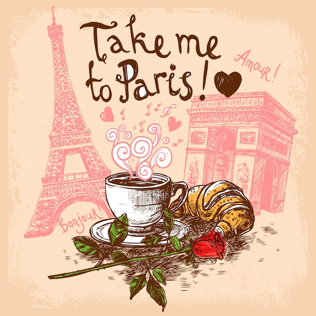 Take me to paris concept Free Vector
