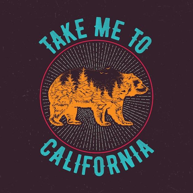 Отведи меня в калифорнию, дизайн этикетки футболки с изображением силуэта медведя Бесплатные векторы