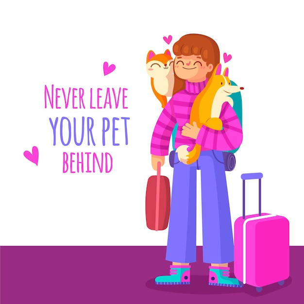 Take your pets with you when moving houses Free Vector