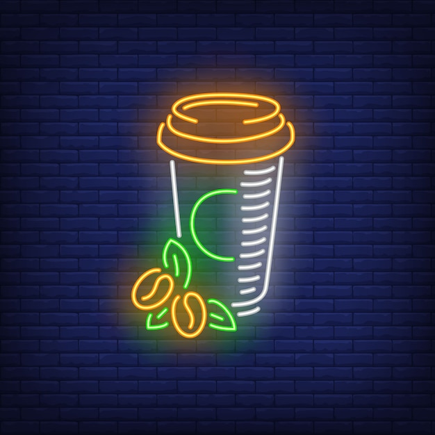 Takeaway coffee in plastic cup neon sign Free Vector