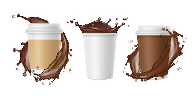 Кофе на вынос. вектор брызги кофе и белая реалистичная бумажная кружка. чашка шоколада, кружка кофейного напитка, всплеск и свежий, забрать иллюстрацию Premium векторы