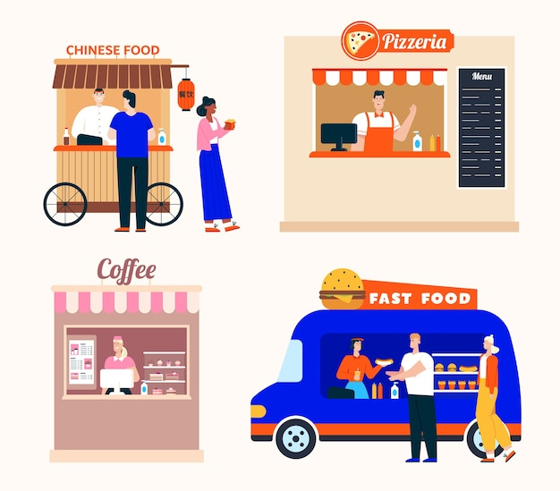 Takeaway food service in restaurants set. chinese food, pizzeria, coffee shop, mobile fast food van. customer buys dishes or drinks, showcase and menu, window for order Premium Vector