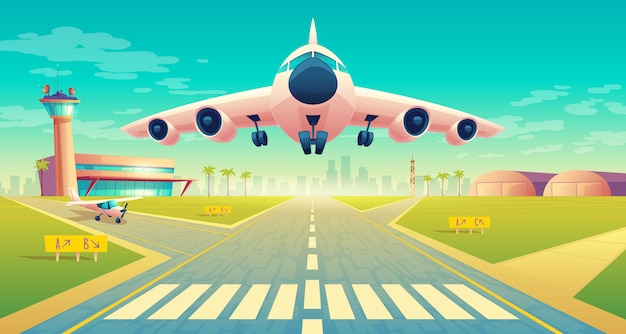 Takeoff of the plane on a landing strip for airplanes near of terminal, control room in tower Free Vector