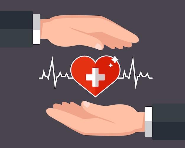 Заботится о своем здоровье. страхование жизни. иллюстрация Premium векторы