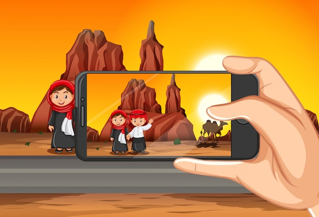 Taking travelling photo by smart phone on view background Free Vector