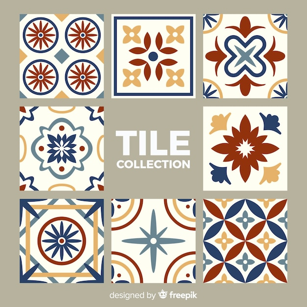 Talavera pack of tiles Free Vector