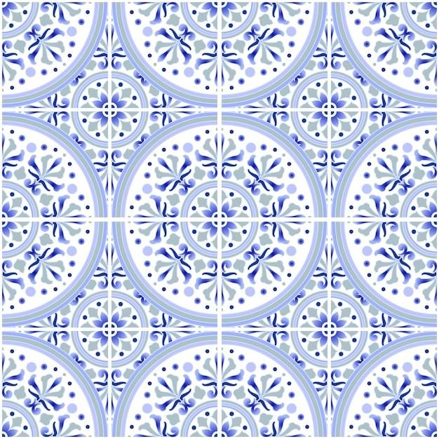 Talavera tile pattern, azulejos portugal ornament, colorful ceramic decor, moroccan mosaic, spanish porcelain tableware, folk print, spanish pottery, mediterranean seamless wallpaper blue vector Premium Vector