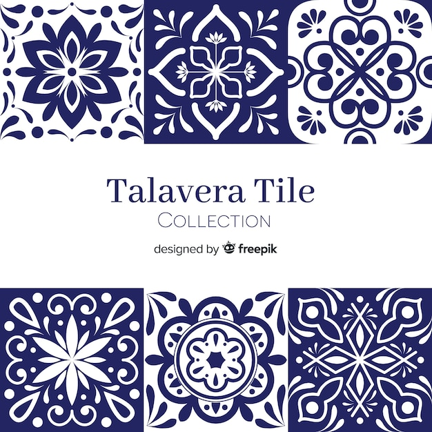 Talavera tile set Free Vector