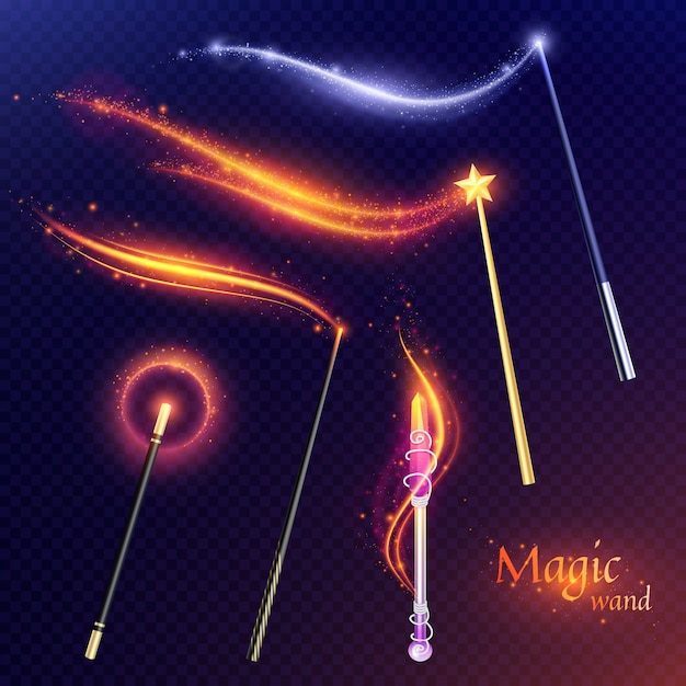Tale set of flying magic wands with effect of  golden and silver glitters on transparent Free Vector