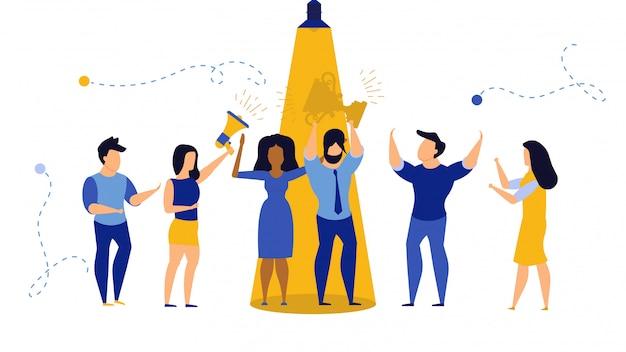 Talent businessman concept illustration. career employee person job worker find. Premium Vector