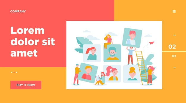 Talent choice concept. employers looking for candidates for job interview. managers working with customers. vector illustration for recruit agency, career, audience topics Free Vector