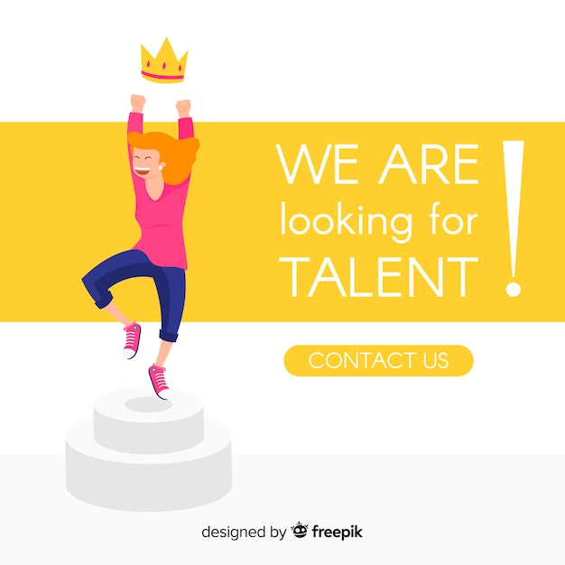 Talent search happy girl background Free Vector