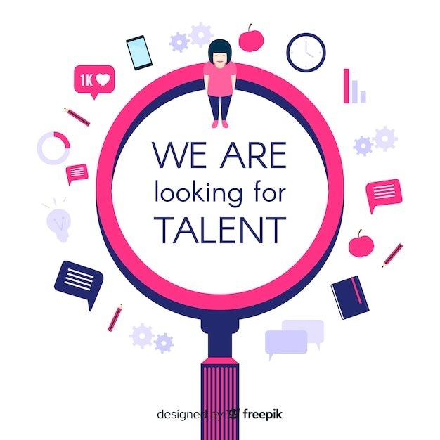 Talent search magnifying glass background Free Vector