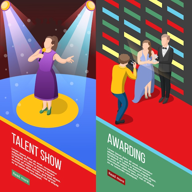 Talent show isometric banners Free Vector