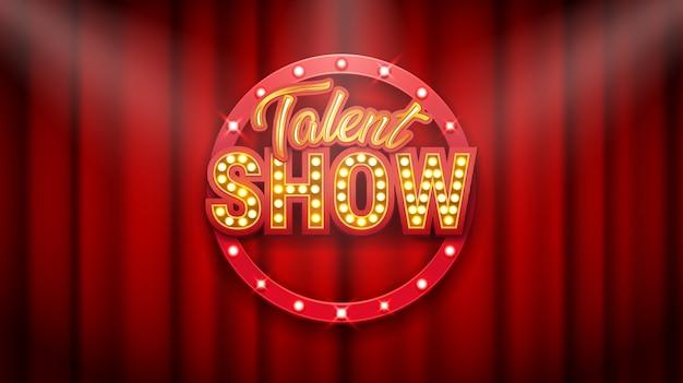 Шоу талантов, плакат, золотая надпись на красном занавесе Premium векторы