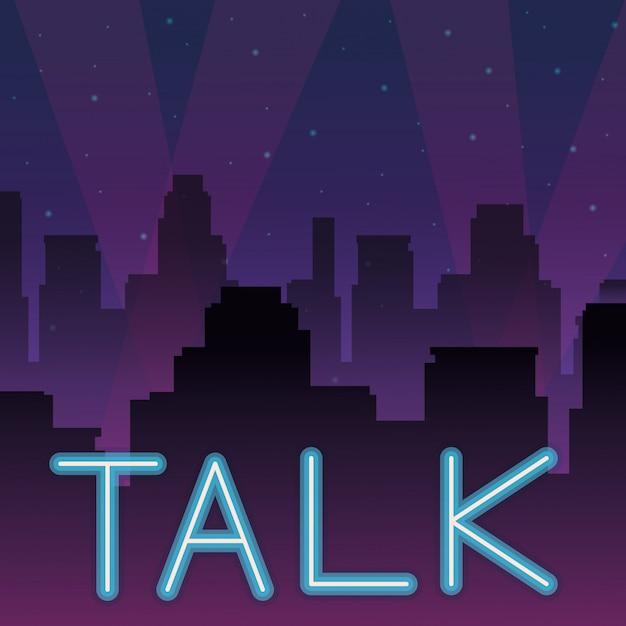 Talk neon advertising Premium Vector