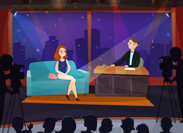 Talk show illustration Free Vector