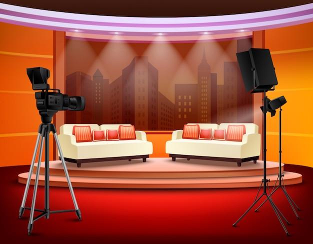 Talk show studio interior Free Vector