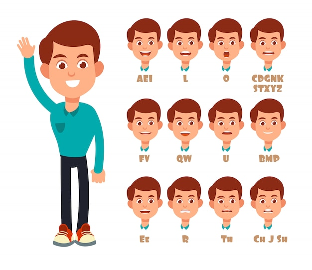 Talking lips sync animation. cartoon  speaking mouth and boy portrait isolated Premium Vector